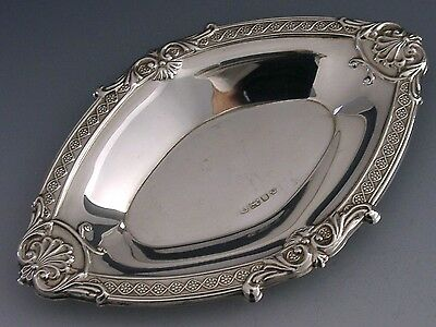 Beautiful Quality English Sterling Silver Nut Bonbon Embossed Dish 1998