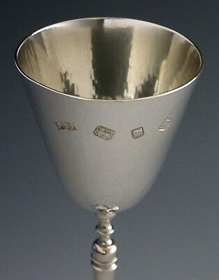 Large Arts & Crafts Tewkesbury English Sterling Silver Goblet / Chalice 1970