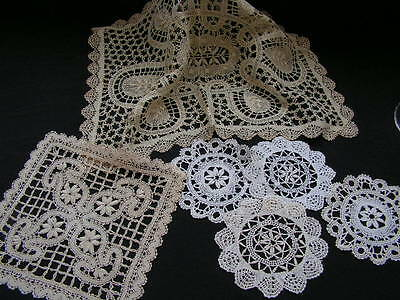 B'ful Small Selection Of Vintage Richly Hand Worked Bobbin Lace Table Mats