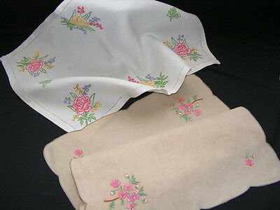 2 B'ful Vtg Richly Hand Embroidered Rose & Spring Flower Table Centre/tray Cloth