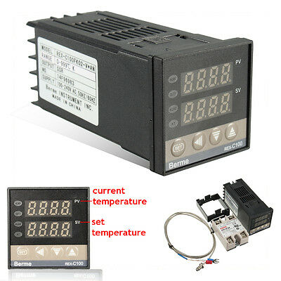 100-240V PID Temperature Controller 40A SSR + 10-40A Solid State Relay Heat Sink