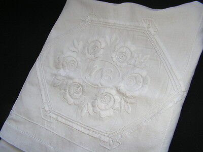 B'ful 1920's/30's Richly Hand Embroidered White Rose & Monogrammed Cushion Cover