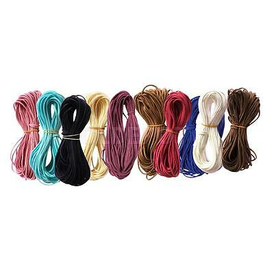 10pcs 2.6mm Velvet Flat Faux Leather Suede Cords Threads Woven Ropes for DIY