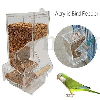 Clear Acrylic Pet Auto Seed Food Feeder Bird Parrot Canary Cockatiel Cage Toys