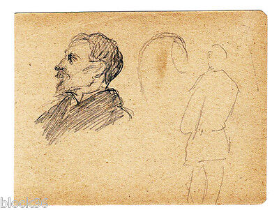 ca 1920 small drawing by Russian artist M.D.Mikhailov Man's Profile