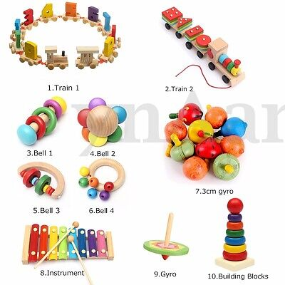 Child Kids Educational Developmental Wooden Toy Gyro Train Bell Xylophone Block