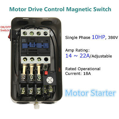 10 HP Single Phase 380V 14-22A+On/Off Button Magnetic Motor Starter Control New