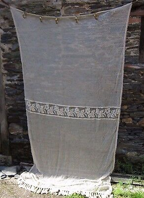 1900's French Chateau Long Net Curtain/Tassels