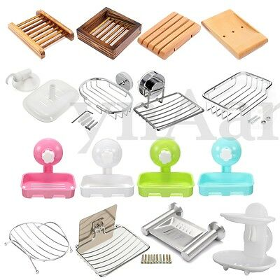 Wall Mount Soap Dish Tray Container Dispenser Box Holder Bathroom Shower Basket