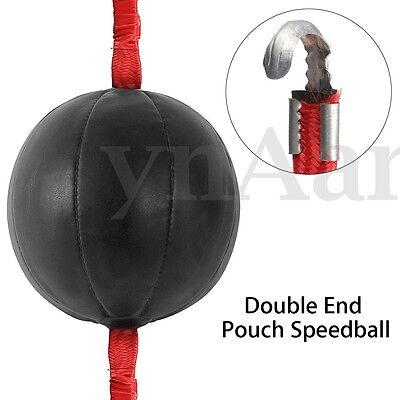 Double End PU Black Speedball Boxing Training Punch Bag W/ Speed Ball Strap