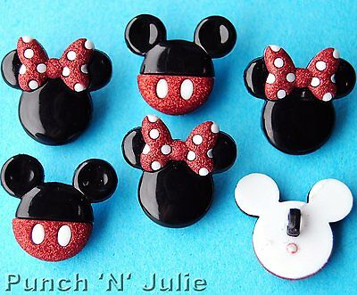 MICKEY AND MINNIE - Disney Boy Girl Mouse Heads Dress It Up Craft Buttons
