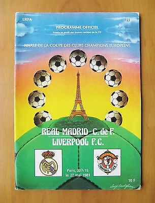 1981 European Cup Final LIVERPOOL v REAL MADRID VG Condition Football Programme