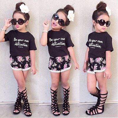 Toddler Kids Baby Girls Outfits Clothes T-shirt Tops+Beach Pants Shorts 2PCS Set
