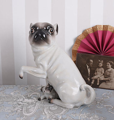 Mops Figure Porcelain figurine Moepsin with Young Pug puppy porcelain Dog