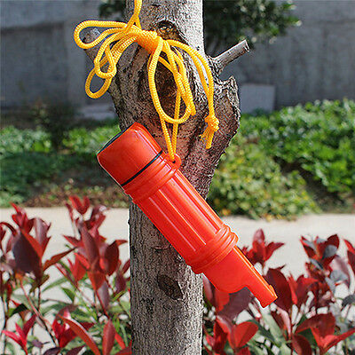 5 in 1 Orange Emergency Whistle Compass Medicine Tank Flint Survival Mirror kit