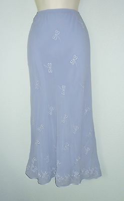 COUNTRY CASUALS CC blue 100% SILK Formal Wedding Occasion Maxi skirt fits 16
