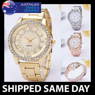 KANIMA WOMENS BLING WATCH WITH FAUX DIAMONDS Rose Gold Silver Ladies Quartz 112