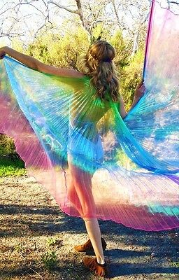 Rainbow Hologram Shiny Pleated Festival Angel Fairy Carnival Pride Dance Wings