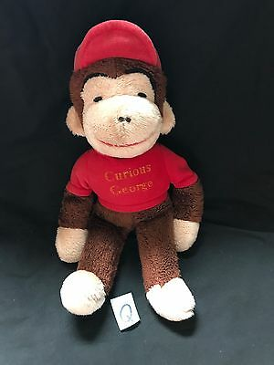 "KNICKERBOCKER 15"" Plush CURIOUS GEORGE Monkey RED Shirt Hat Stuffed Animal Vtg"