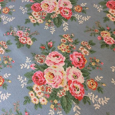 Cath Kidston Tablecloth Very Large 240 X 140 Cms Blue With Pink Roses