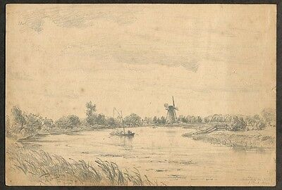 1889 Original  Antique Pencil Drawing Windmill South Marsh Mill  Arundel Sussex