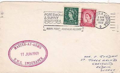 Good 1969 Gb British Naval Cover With Master At Arms Hms Endurance Cachet 29*