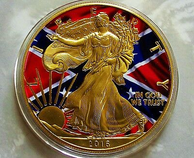 "2016 1 oz .999 Silver Eagle ""Gold Gilded & Colorized"" Confederate Flag Coin."