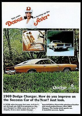 1969 Dodge Charger gold car woman in football helmet photo vintage print ad