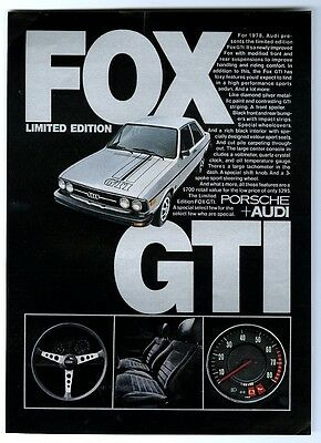 1978 Audi Fox GTI limited edition car photo vintage print ad