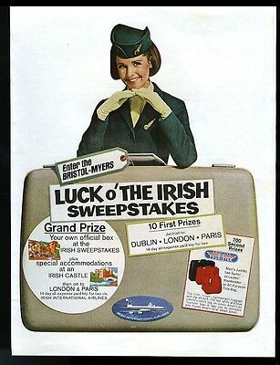 1967 Aer Lingus stewardess color photo vintage print ad