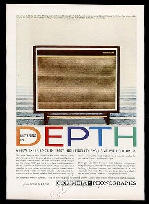 1958 Columbia phonograph hi-fi system model 534 photo vintage print ad