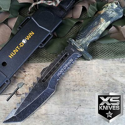 "12"" Hunt Down Camo STONEWASHED Fixed Blade HUNTING SURVIVAL Knife + FIRE STARTER"