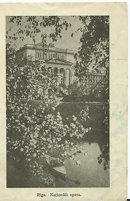 Black & White Postcard of Riga National Opera House with Autographs