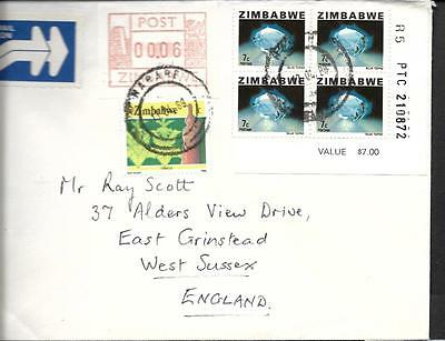 Zimbabwe, 1988 Cover To Uk, With Frama Label And 7C Defin, R5 Block 4