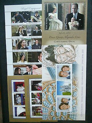 Cook Islands and area lot of 5 mint NH souvenir sheets of Kate and William