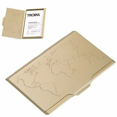Troika GOLD GLOBAL CONTACTS BUSINESS/NAME CARD CASE EMBOSSED WORLD MAP