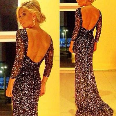 UK Women's Long Formal Prom Dress Cocktail Party Bodycon Ball Gown Evening Dress