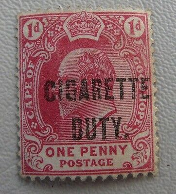 "Cape of Good Hope EdVII 1d ""Cigarette Duty"" Revenue stamp"
