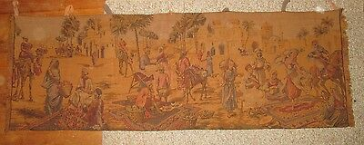 1900s horizontal tapestry of Egyptian marketplace in great shape!
