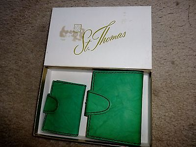 Vintage St Thomas Green Leather Wallet and Key Holder NOS Never used