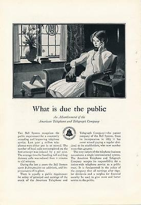 Vintage Magazine Ad - 1928 - Bell System / AT&T - What is Due the Public
