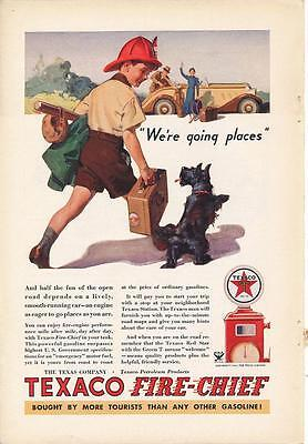 Vintage Magazine Ad - 1934 - TEXACO Fire Chief - Boy and Dog