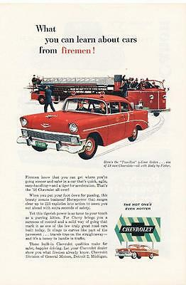 Vintage Magazine Ad - 1956 - Chevrolet Two-Ten 4 -Door Sedan - red