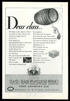 1934 Old Overholt Straight Rye whiskey barrel photo vintage print ad