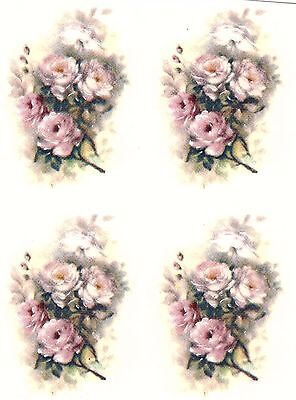 """6 Pink and White Rose Flowers 1-5/8"""" X 1"""" Waterslide Ceramic Decals Xx"""