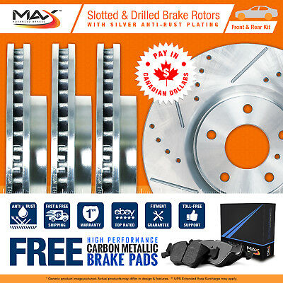 08 09 Dodge Caliber (See Desc.) Silver Slotted Drilled Rotor Metallic Pads F+R