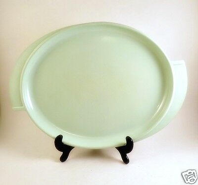 "Mint Green Vintage BOOTON Melmac Platter 14.5"" # 606 Oval Winged Handles"