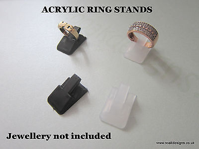 Simply Acrylic Ring Display Stands x 4 or 10 White, Frosted or Black NEW PRICE