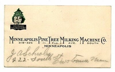 ca '40s? Business Card Minneapolis Pine Tree Milking Machine Cow's Adopted Child