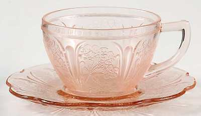Jeannette Glass CHERRY BLOSSOM PINK Cup & Saucer 285996